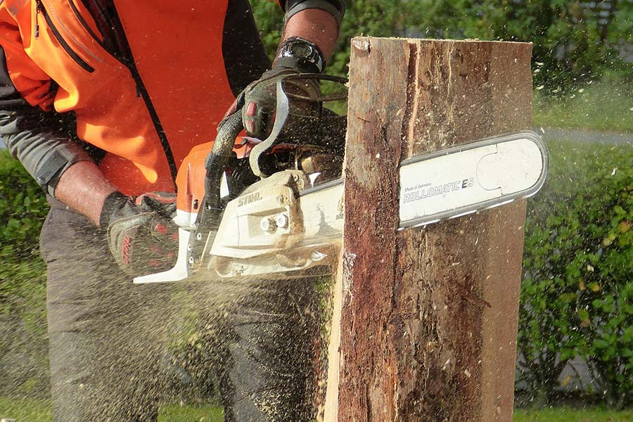 Tree Services West Chester - Chain Saw cutting tree in half